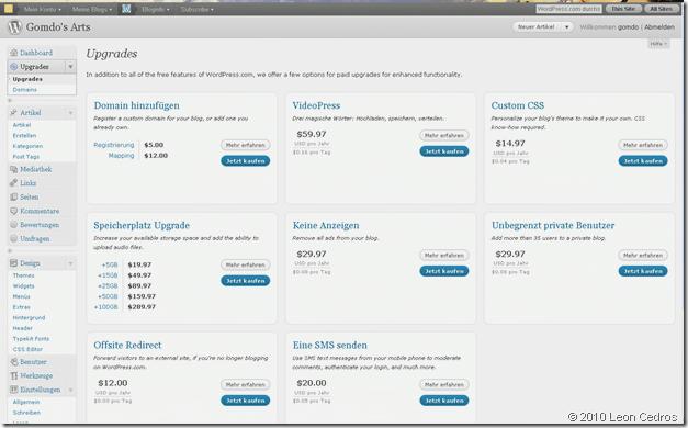 Verwaltungs Oberfläche von WordPress.com
